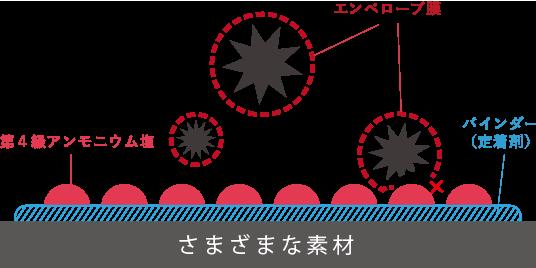 アンモニウム塩がウイルスのエンベロープ膜を破壊する図
